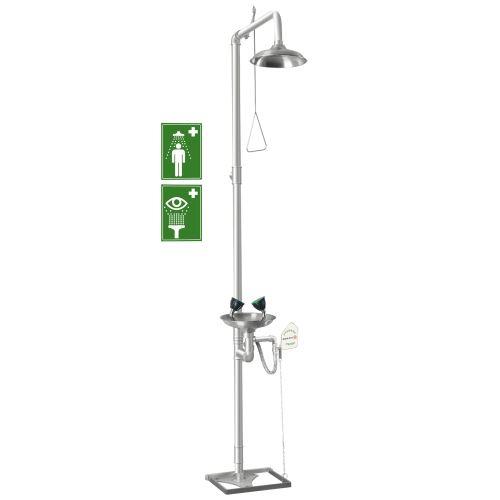 Kombinovaná tělní a oční bezpečnostní sprcha 2S – stojanová celonerezová