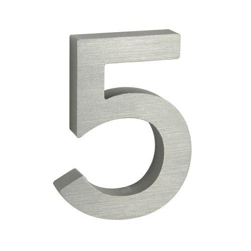Domovní číslo 3D AL stříbrné matné - č. 5