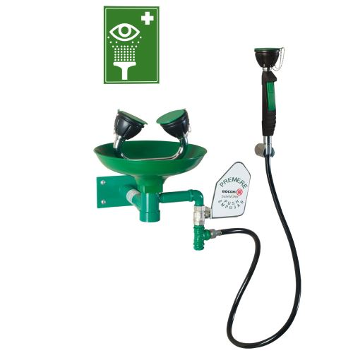 Oční bezpečnostní  sprcha - nástěnná polypropylenová + ruční