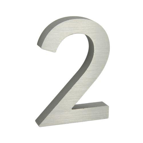 Domovní číslo 3D AL stříbrné matné - č. 2