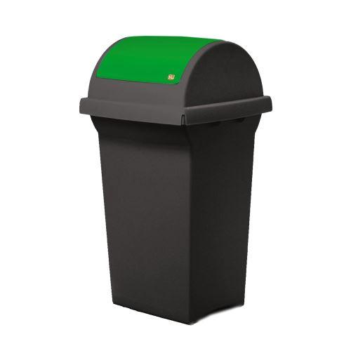 Odpadkový koš 50 l na třídění odpadů - víko výkyvné  ZELENÉ