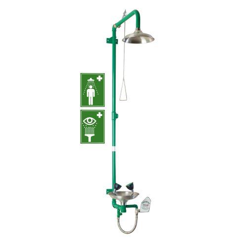 Kombinovaná tělní a oční bezpečnostní sprcha – nástěnná nerezová