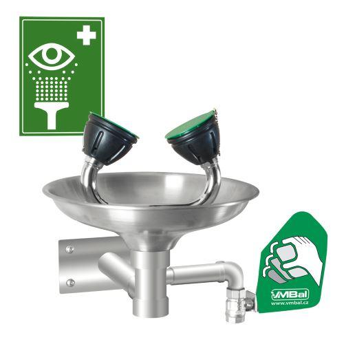 Oční bezpečnostní sprcha - nástěnná celonerezová