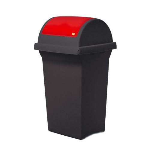 Odpadkový koš 50 l na třídění odpadů - víko výkyvné  ČERVENÉ