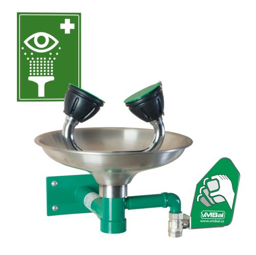 Oční bezpečnostní sprcha - nástěnná nerezová