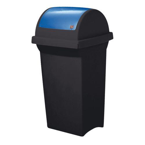 Odpadkový koš 50 l na třídění odpadu - víko výkyvné  MODRÉ