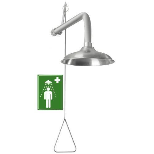 Tělní bezpečnostní sprcha - nástěnná celonerezová
